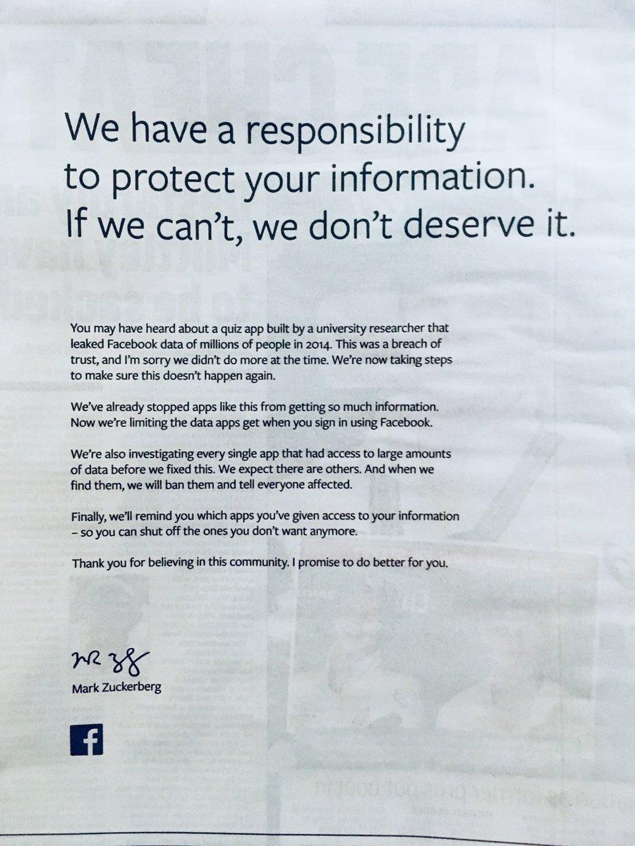 Facebook Newspaper Ad