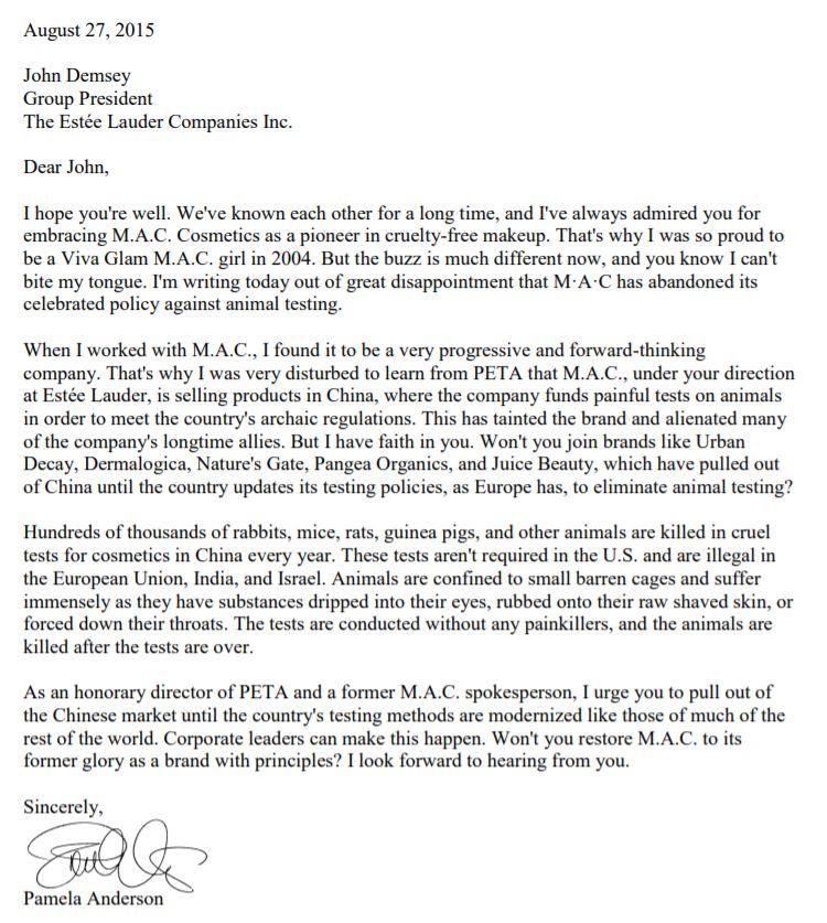Pamela-Anderson-Letter-to-Estee-Lauder