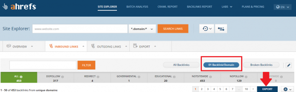 Ahrefs Backlink-Domain