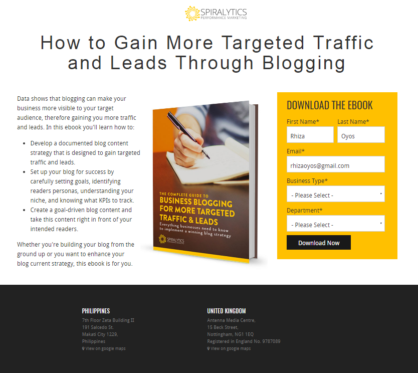 Business blogging landing page
