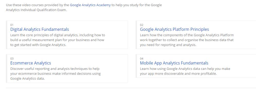 oogle Analytics Academy videos