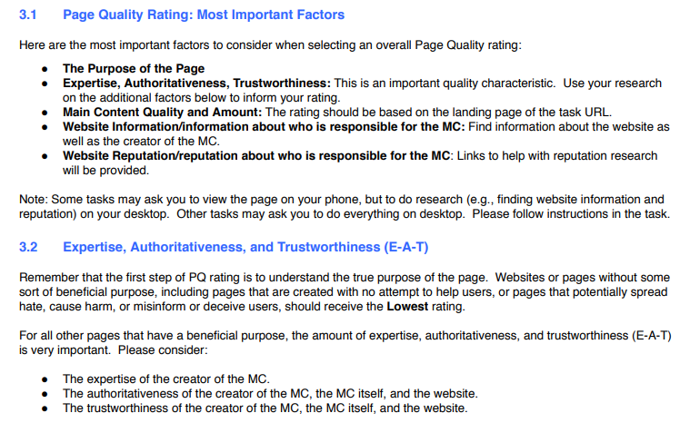 EAT in Google's search evaluator guidelines