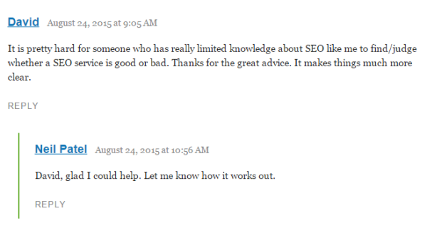 answer blog comments
